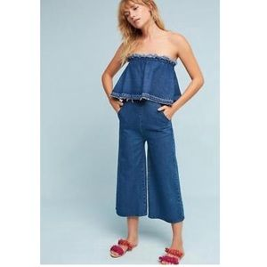 Anthropologie Frayed hem strapless denim jumpsuit